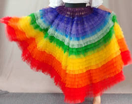 Adult Rainbow Tulle Skirt Long Colorful Rainbow Tutu Rainbow Costume High Waist  image 6