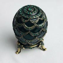 Egg Jeweled Trinket Box Green Enameled Pewter made with Swarovski Crystals - $32.67