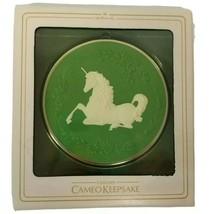 Vintage Hallmark Unicorn Cameo Keepsake Ornament Green & White 1981 with... - $16.31