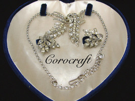 Vintage Floral Clear Rhinestone Necklace And Earring Set, COROCRAFT Velv... - $125.00
