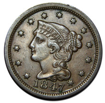 1847 Large Cent Liberty Braided Hair Head Coin Lot # MZ 2695