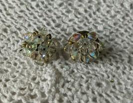 Designer Signed Laguna Glass Bead Cluster Silver Tone Clip On Earrings - $9.69