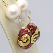 Yellow Gold Earrings 750 18K Pearls Fw Ceramics Hand Painted by Made in Italy image 3
