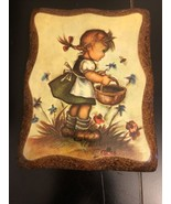 Wall Plaque Girl With Basket - $7.92