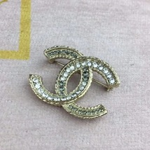 Authentic XL CHANEL RARE Antique Strass CC Crystal GOLD Brooch Pin