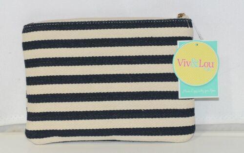 Viv and Lou M728VLCSTRP Black White Stripe Chandler Zip Pouch