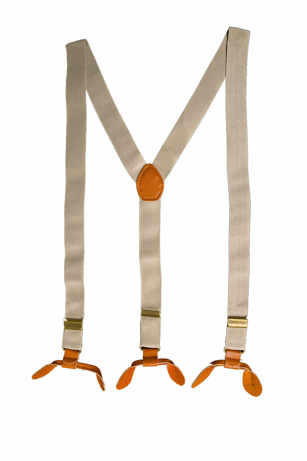Beige Unisex Suspender Braces Adjustable Leather Button Holes Lycra/Elastane UK