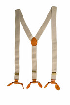 Beige Unisex Suspender Braces Adjustable Leather Button Holes Lycra/Elas... - $6.19