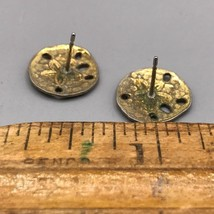 Vintage Gold Tone Sand Dollar Post Pierced Earrings image 2