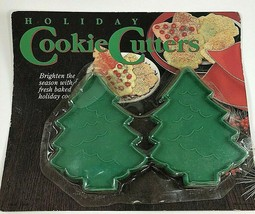 Vintage Set 2 Plastic Cookie Cutters Stamps Green Holiday Christmas Tree... - $8.90