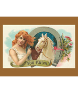 "Vintage Crate Label, White Horse, You Know, Horseshoe, Girl,  8 x 10"" pr... - $12.49"