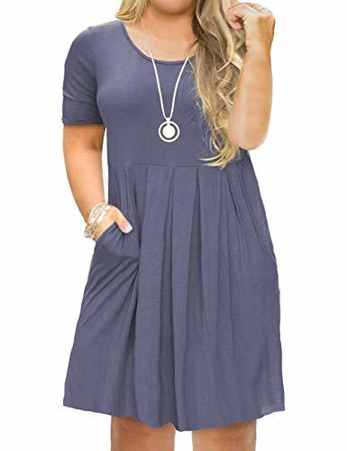 FOLUNSI Women's Plus Size Short Sleeve Pleated Loose Swing Casual Dress with Poc