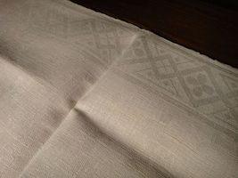 Large vintage antique Irish linen damask hand towel Celtic clover tea dish 40X17 image 8