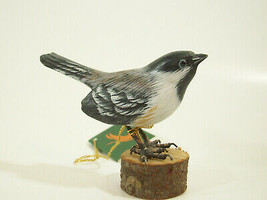 Chickadee Hand Carved Painted Bird Figurine Figure Carving Vintage Estate - $29.69