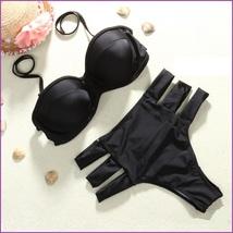 Black Matching Push Up High Waist Tri Strap Removeable Halter Strap 2 Pc Bikini  image 3