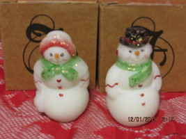 FENTON ART GLASS 2008 FROSTY FRIENDS SNOWMAN AND SNOWLADY FIGURINES - $125.00