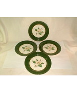 "Homer laughlin jade rose green 4pc dinner plates 10"" VG Vintage (LOT2) - $33.00"