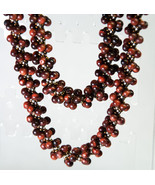 "36"" Tiger Eye Spiral Rope Necklace 4 mm Natural Red Gemstone Beads - $145.00"