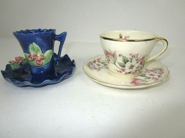 Vintage Royal Bone China Tiny Tea Cup & Saucer 22 Kt Gold Trim +Blue W/ ... - $33.38