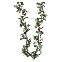 MINIATURE LASER SILVER HOLLY GARLAND image 1
