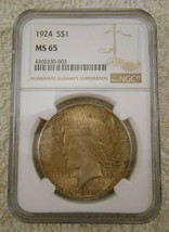 MS-65 1924 Peace Silver Dollar - NGC Graded - ALMOST PERFECT - $102.89