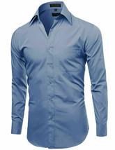 Men's Classic Fit Long Sleeve Wrinkle Resistant Medium Blue Dress Shirt XL image 2
