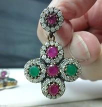 Incredible Genuine Ruby & Emerald Earrings w/White Sapphires -- Pierced - $585.00