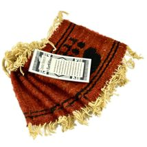 Handmade Zapotec Indian Weaving Hand-Woven Bear Claw Red Wool Coaster Set of 4 image 3