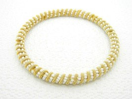 VTG Gold Tone White Glass Bead Twist Bangle Bracelet - $19.80