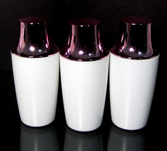 3 Plastic Bottles White with Pink Cap Beauty Makeup Containers 8.5 oz. #9328 - $9.95