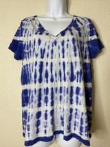 Merona Womens Size XXL Blue Tie Dye T-Shirt Short Sleeve V Neck - $11.88