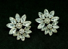 Clear Rhinestone Flower Gold Tone Post Earrings 1980s Vintage Bling - $19.79