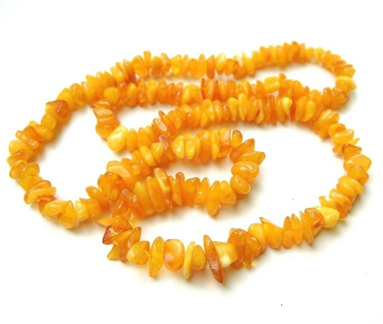 Natural Egg Yolk Baltic Butterscotch Amber Nuggets necklace 34 Grams 24 inches - $49.99