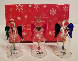 """New in Box  AVON Angelic Glass Bells  Set of 3 Glass Angel Bell Ornaments 4.5 '"""" - $24.74"""