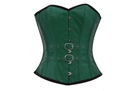 Green Faux Leather & Belt Goth Steampunk Waist Training Basque Overbust ... - $55.77