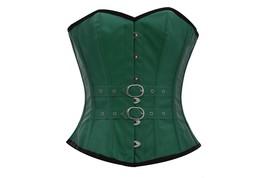 Green Faux Leather & Belt Goth Steampunk Waist Training Basque Overbust Corset  - $55.77