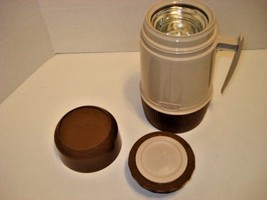 """Vintage Thermos Brand Brown Plastic Thermos Wide Mouth Pint 8"""" Tall  Cov... - $18.81"""