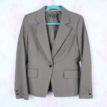 Anne Klein 4 Gray Striped Wool Blend Single Button Blazer Jacket Career ... - $29.69