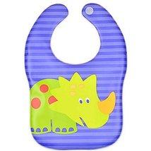 2 Pcs Soft and Comfortable Cartoon Dinosaur Baby Bibs Waterproof Pocket image 2