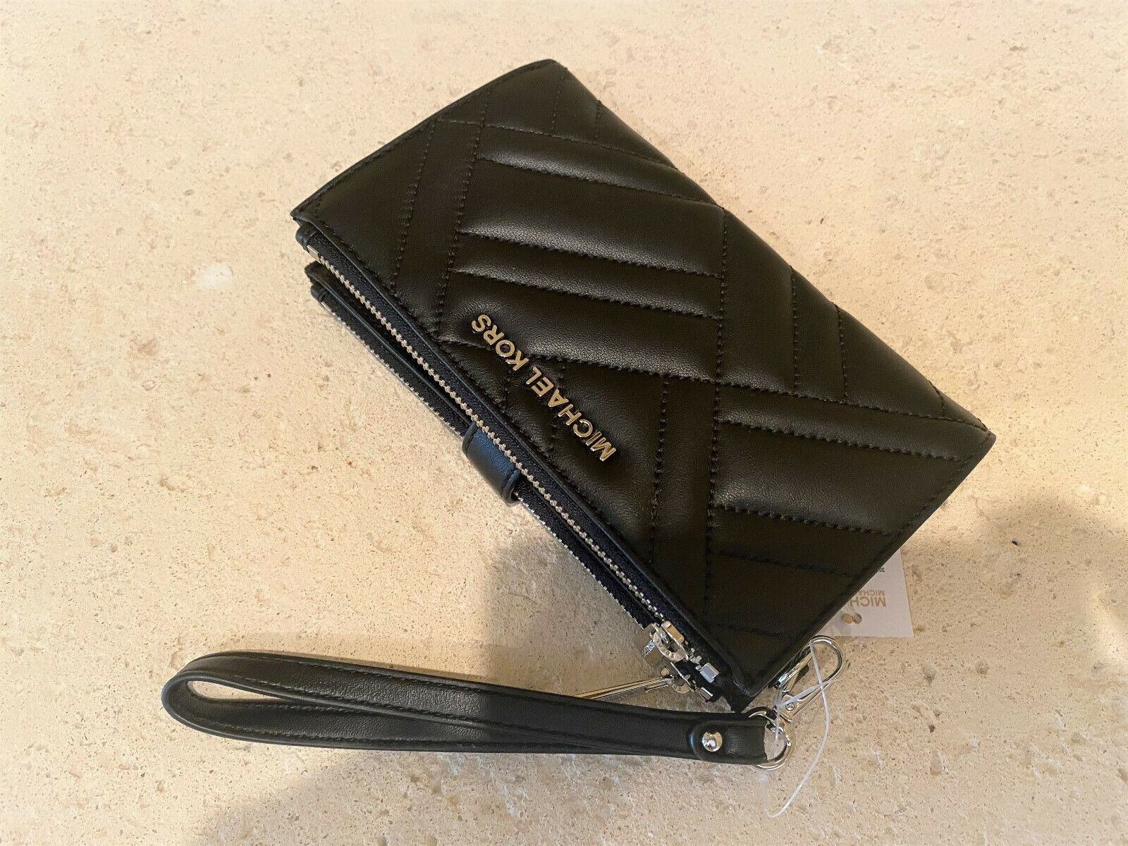Primary image for Michael Kors Peyton Double Zip Quilted Leather Phone Wristlet Black/Silver