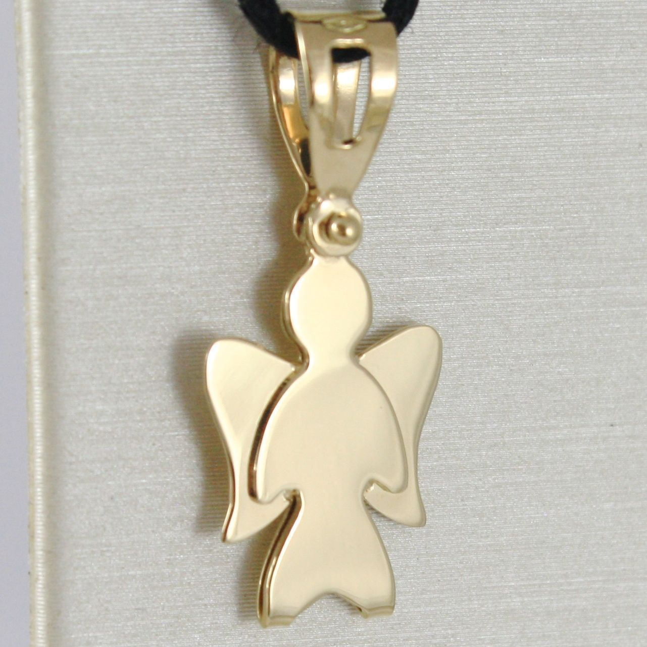 18K YELLOW GOLD PENDANT WITH LUSTER STYLIZED ANGEL  MADE IN ITALY  0.94 IN LONG