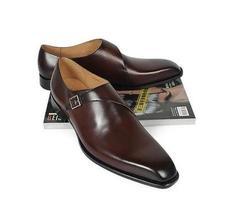 Handmade Mens brown formal monk Shoes, Men brown dress shoes, Men leather shoes - $159.99