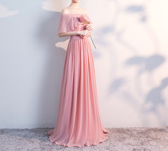 BLUSH Chiffon Bridesmaid Dresses Blush Pink Spaghetti Cap Sleeve Maxi Prom Dress image 2