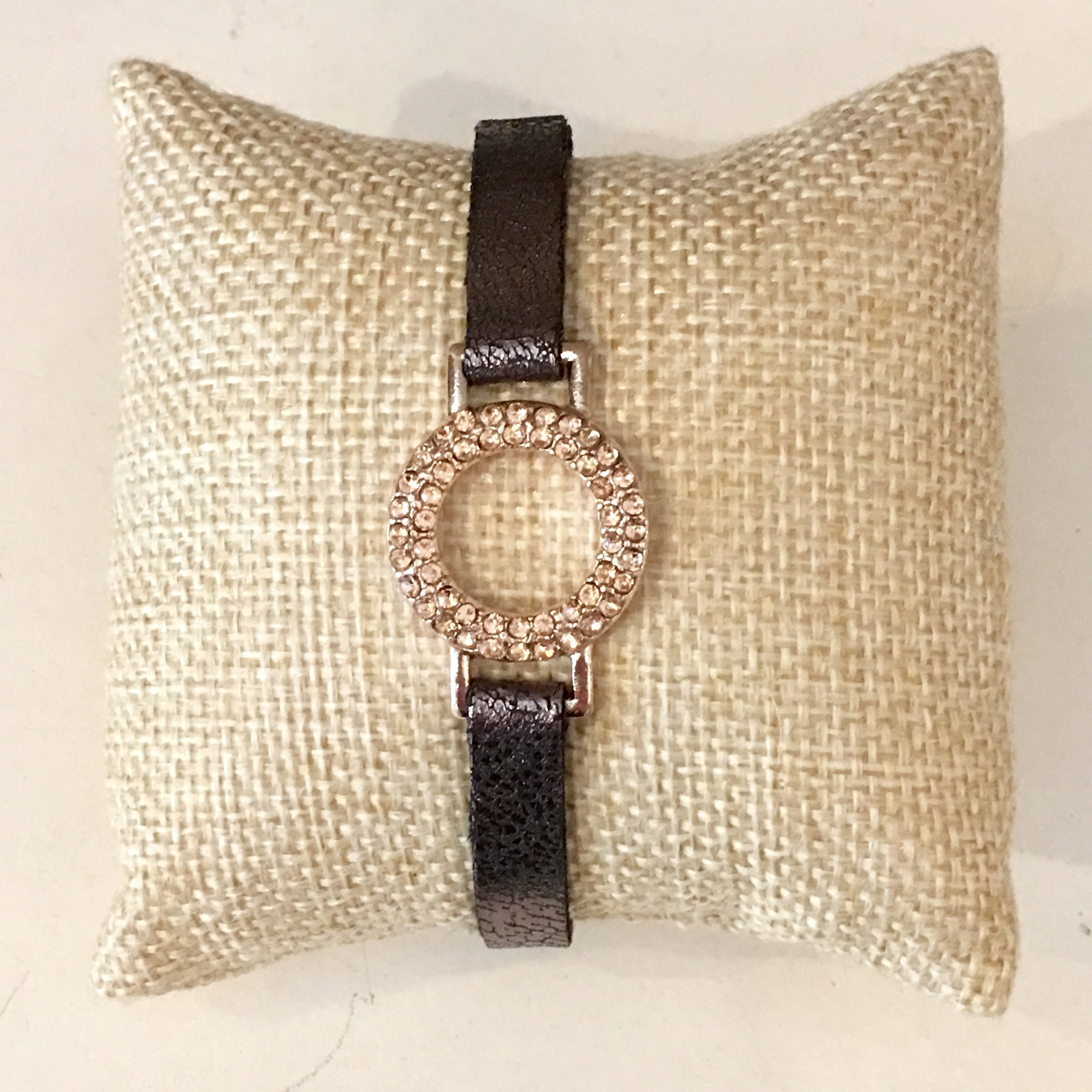Metallic Leather Bracelet, Narrow Metallic Leather Bracelet, Rose Gold Pave Ring