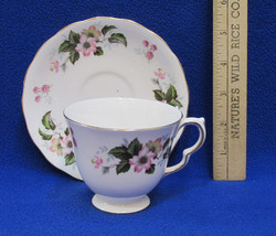 Queen Anne Tea Cup & Saucer Plate Bone China England Pink Yellow Floral ... - $13.85