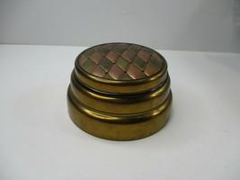 VTG Bronze Metal Trinket Music Box Vanity Dresser W/ Lid Diamond Design Top - $10.99