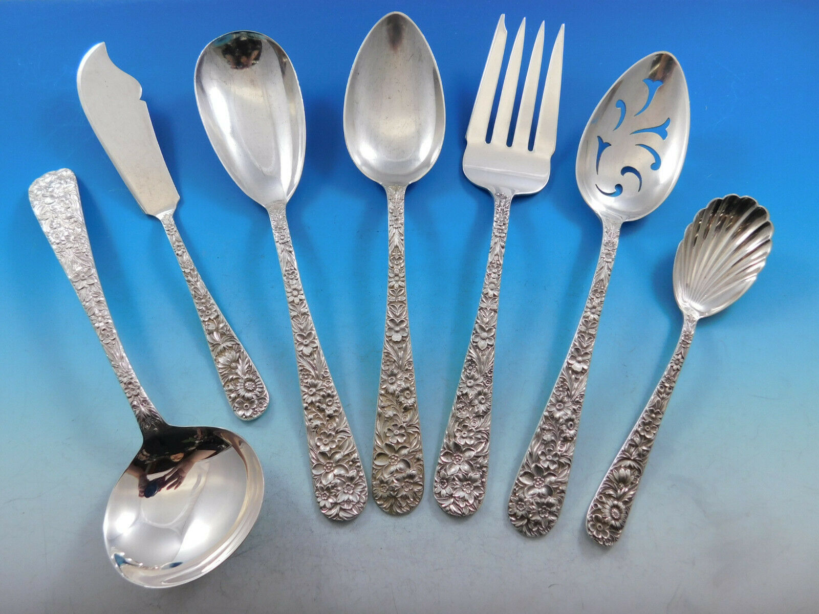 Primary image for Repousse by Kirk Sterling Silver Essential Serving Set Large Hostess 7-piece