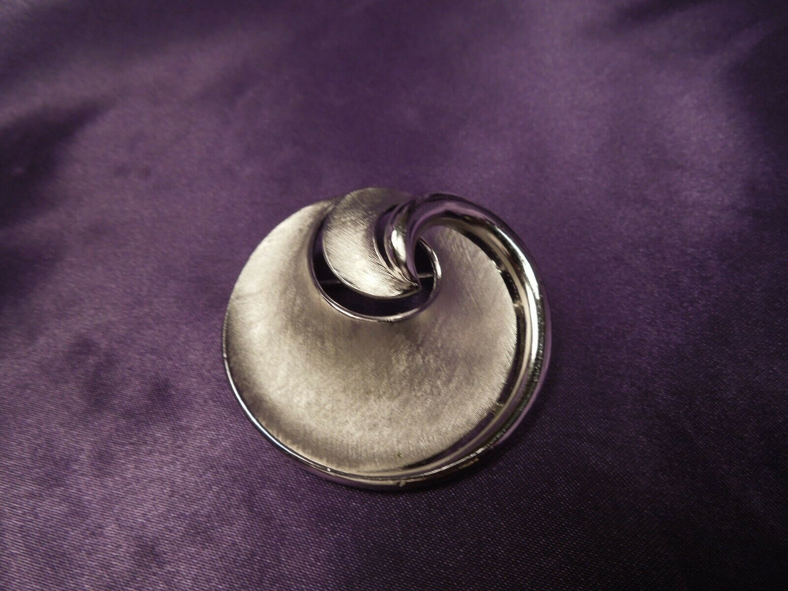 Primary image for Crown Trifari Silver Tone Satin Swirl Vintage Brooch Pin