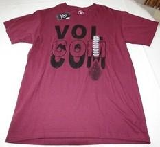Homme Volcom Manche Courte Coton T-Shirt Surf Skate S Cognito Bordeaux Nwt - $18.70