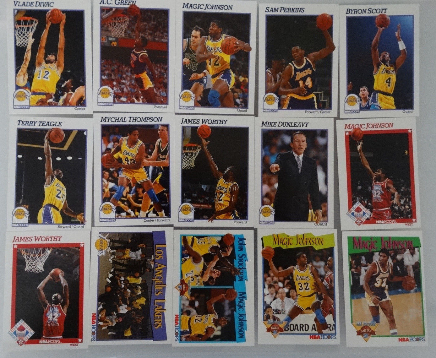 Primary image for 1991-92 Hoops Los Angeles Lakers Team Set Of 15 Basketball Cards